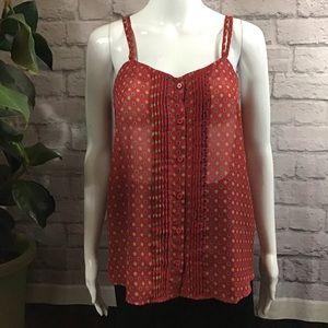 🎈SALE! 3/$15 Red sheer polka dot summer top 🍃